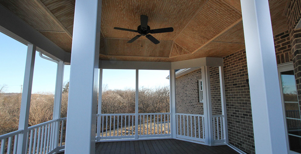 All maintenance free exterior material - decks surface & rails and columns. Ceiling detail that offers esthetic interest.
