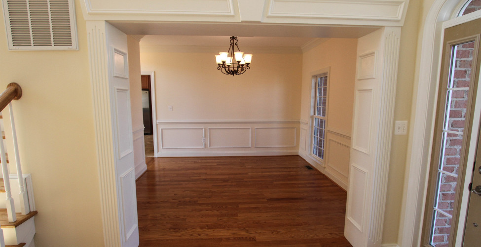 The trim sets off the nicely sized dining area.