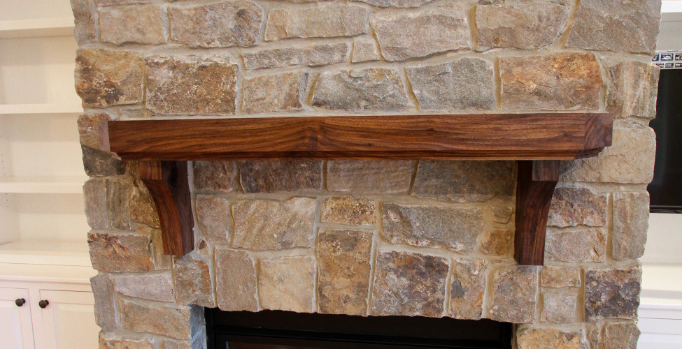 Stone to ceiling, custom mantel (designer for client - opt.) and built in's (optional).