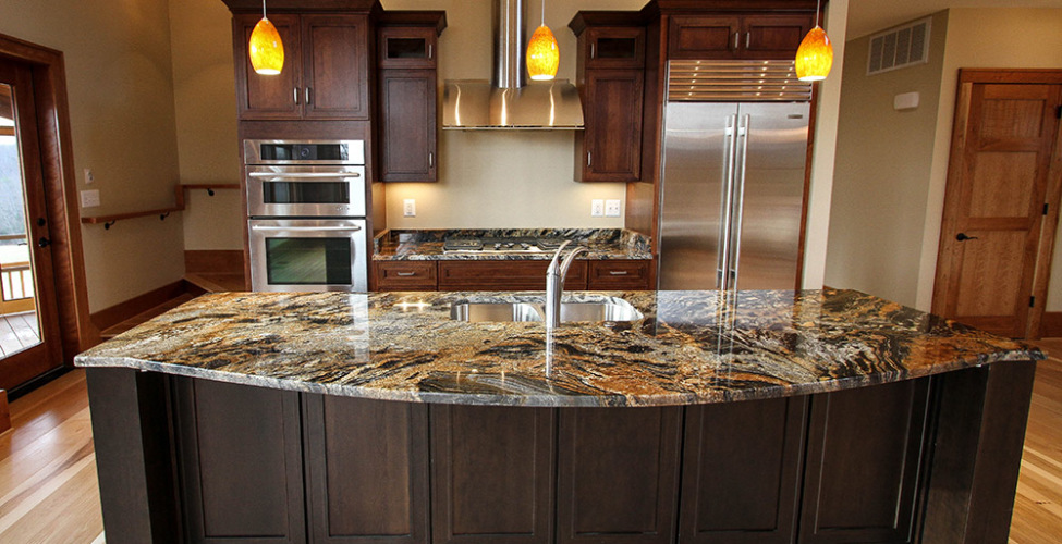 "Exotic Granite, 10"" Plank Floors."