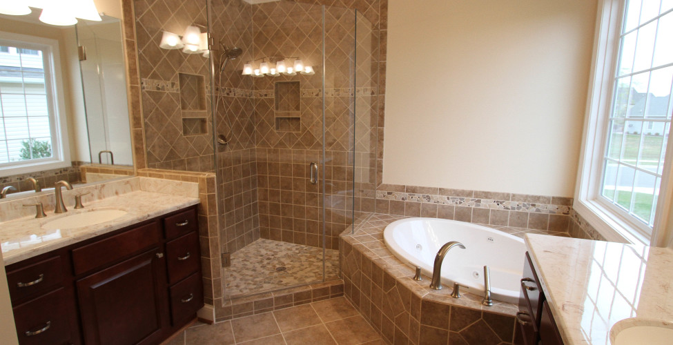 The beautiful master bath created for the Cypress plan is one of the many we'll designed features of this plan.