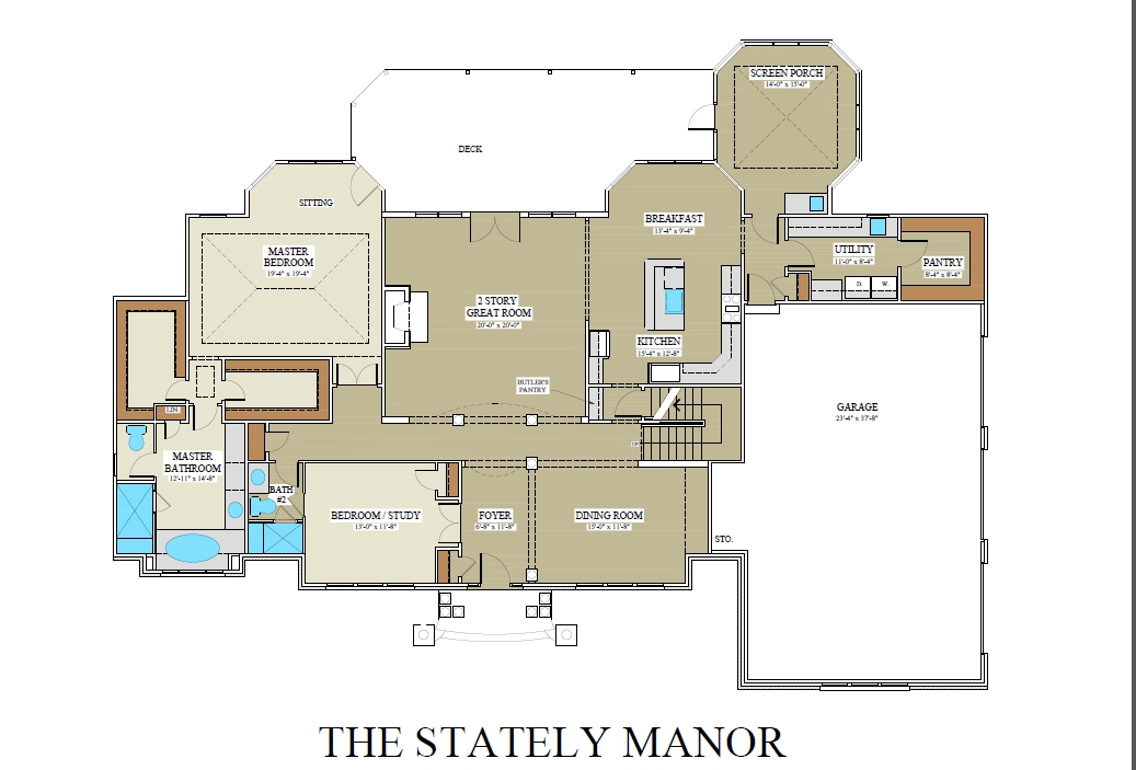 Stately Manor First Floor Plan - Winchester Home Builders