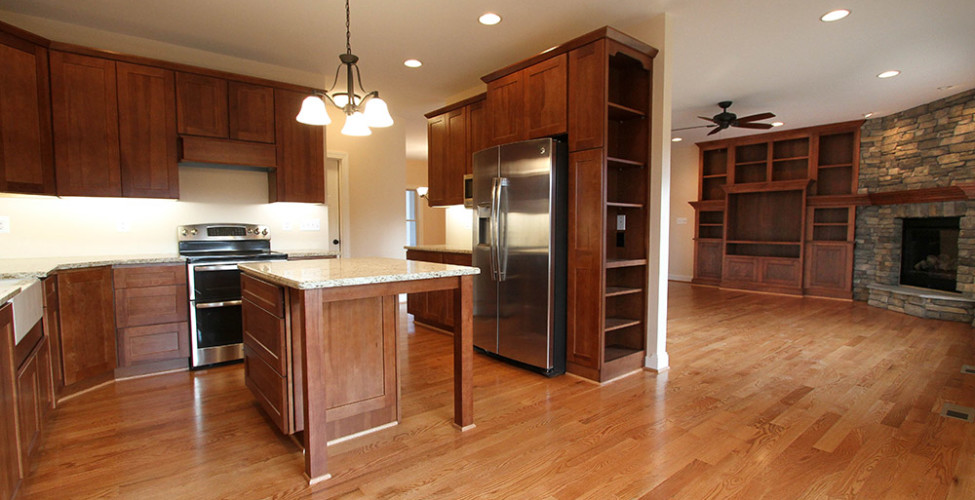 Shake style cabinets, Oak Flooring, Custom Cabinetry.