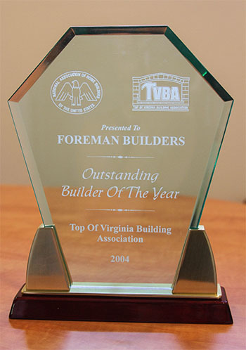 Builder Awards - Forman Builders - Custom Homes - Winchester, VA